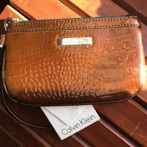 Calvin Klein Embossed Wristlet Patent Leather